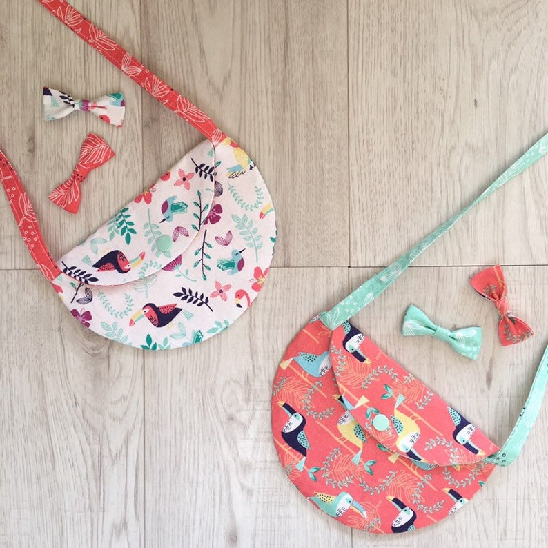 Toddler hand bag man bag Children purse role play Coral tropical birds