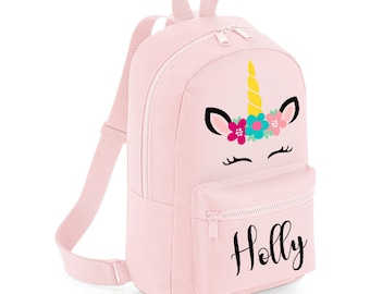 f1ae54c18d9d Personalised Mini Unicorn Backpack with ANY NAME- Kids Children Teenagers  School Student rucksack - Back To School Bag Backpack - MBU1
