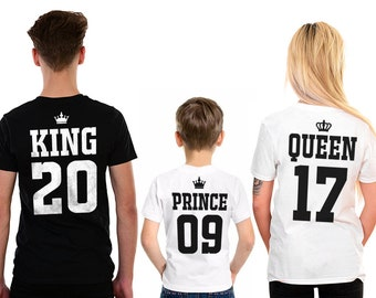 920b152d2 King Queen Prince Princess Matching Family T-Shirts Father Mother Daughter  Son Matching shirts Royal Family, Mommy and Me, Gift