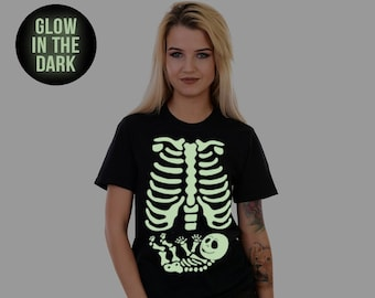 279433aede50a Skeleton Baby Tshirt Costume Xray Halloween T-shirt Skeleton Baby Girl  Maternity Halloween Shirt Cute Pregnant Mom Pregnancy Ribcage Glow