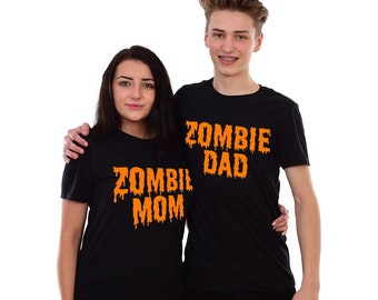 4be550bc1 Zombie Mom and Dad Halloween T-shirt Couples Tshirt Mommy Halloween Tee  Shirt Cute Matching Set Halloween Costume Funny