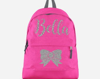 0bd30d3687 Personalised Backpack with ANY NAME in Silver Glitter- Kids Children  Teenagers School Student rucksack - Back To School Bag Backpack -CBP3