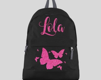 53d7594ba8 Personalised Glitter Butterfly Backpack with ANY NAME- Kids Children  Teenagers School Student rucksack - Back To School Bag Backpack - CBPBF