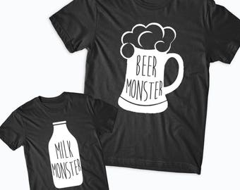 cc438b51e Beer Monster Milk Monster Matching TShirts, Fathers Day Gift, Baby Shower  Gift, Funny Matching Tops, Father Son TShirts, Daddy and me