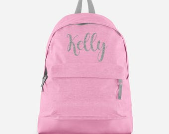 386bb363cd Personalised Backpack with ANY NAME in Silver Glitter - Kids Children  Teenagers School Student rucksack - Back To School Bag Backpack -BPC1