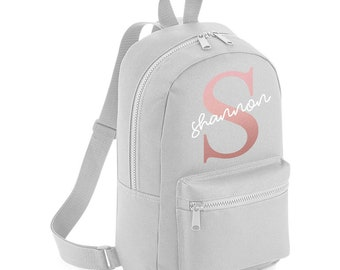 aa2994820d Personalised Name Rose Gold Initial Backpack with ANY NAME- Girls Boys Kids  Children Pre School School rucksack Back To School Bag - MBP6