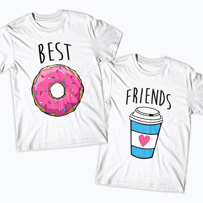 Mejor camiseta amigos dona y café coincidencia de camisetas