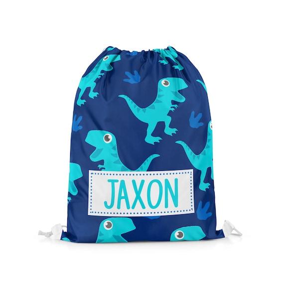 Personalised Dinosaur Drawstring Bag Boys Kids PE Swimming School Bag #16