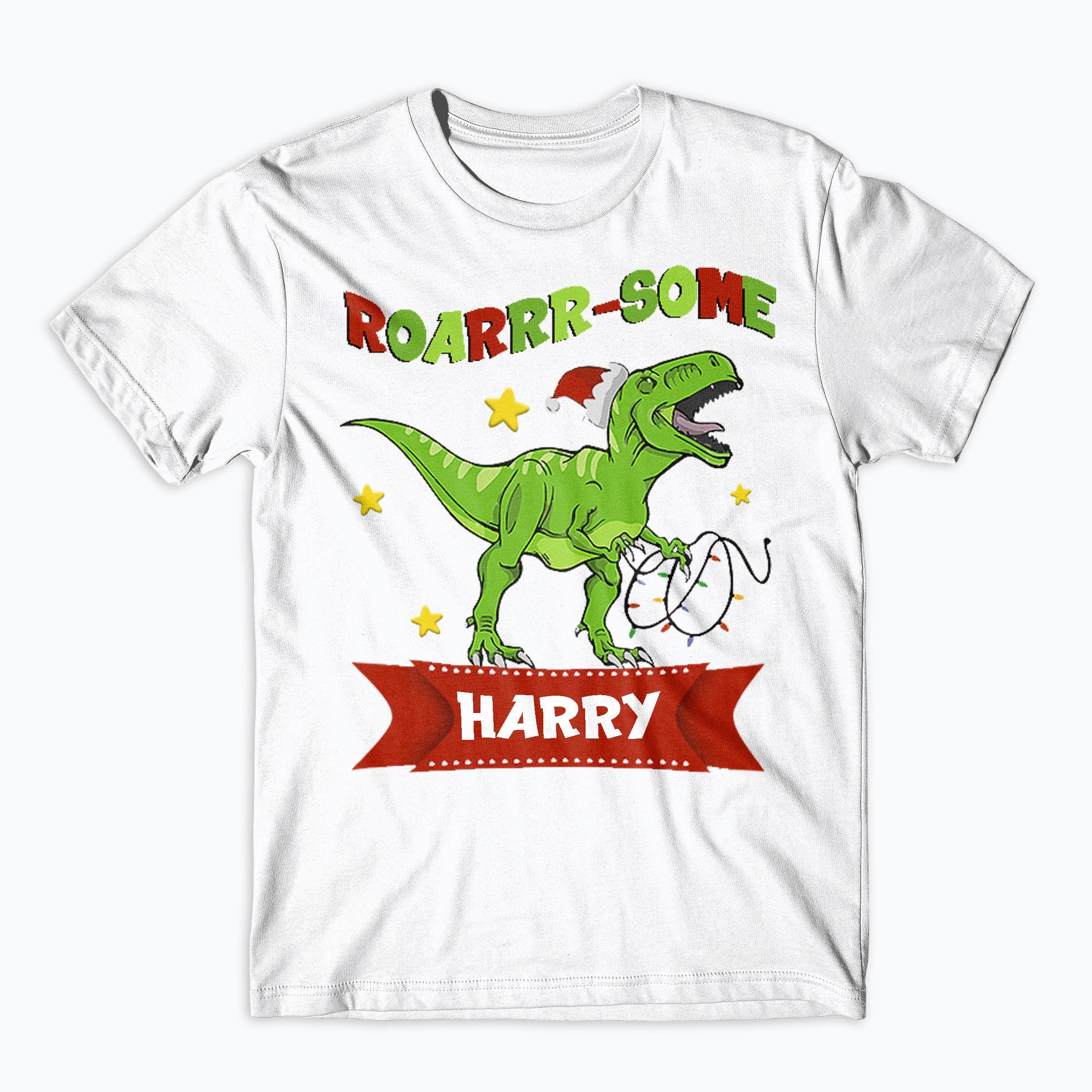 Personalised Funny Dinosaur Childs T Shirt Kids Tee Top Dino Name-Saurus Named