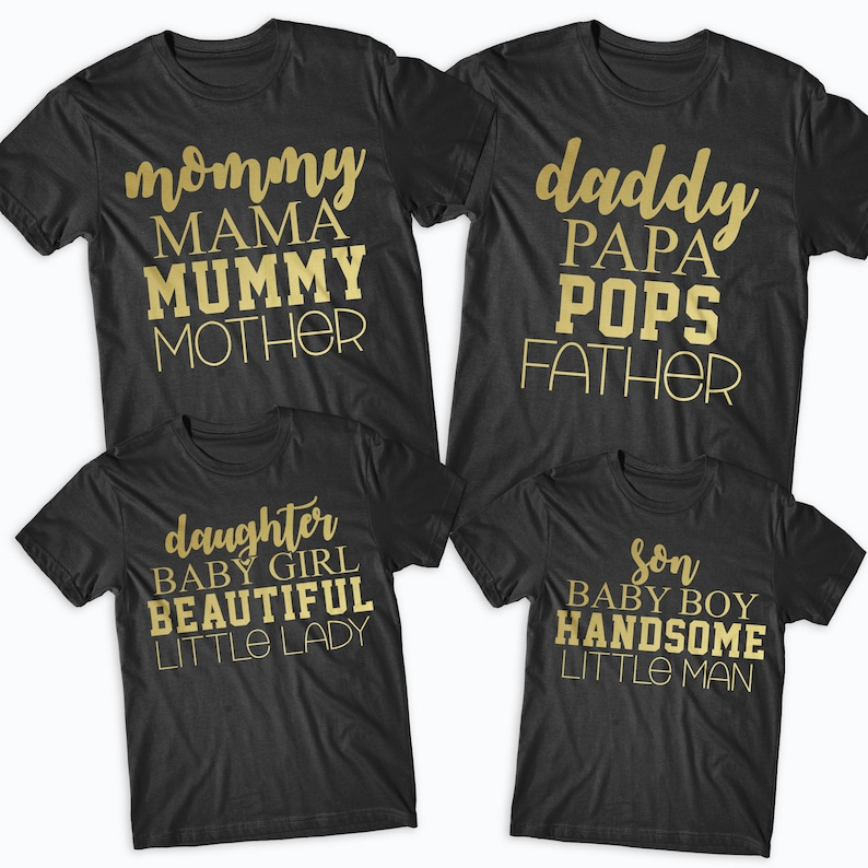 a7b84c66e4 Mommy Daddy Son Daughter Gold Matching Family T-Shirts Father | Etsy