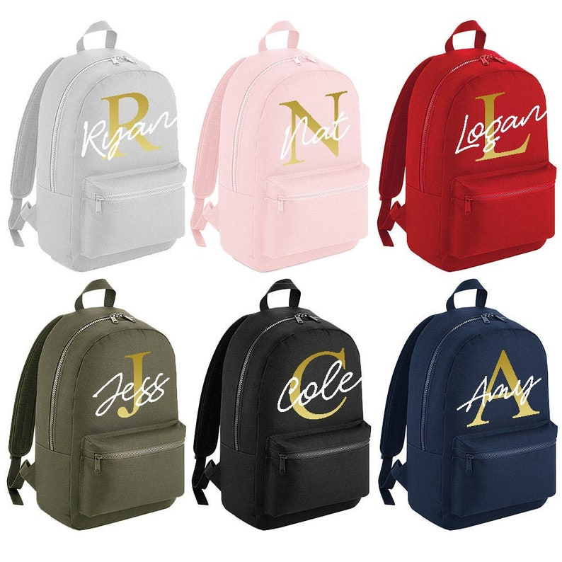 #MBP6 Personalised Name Gold Initial Large Backpack with ANY NAME Girls Boys Kids Children School Rucksack Back To School Bag Backpack