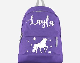 Personalised Unicorn Backpack with ANY NAME- Kids Children Teenagers School Student rucksack - Back To School Bag Backpack -CBPU