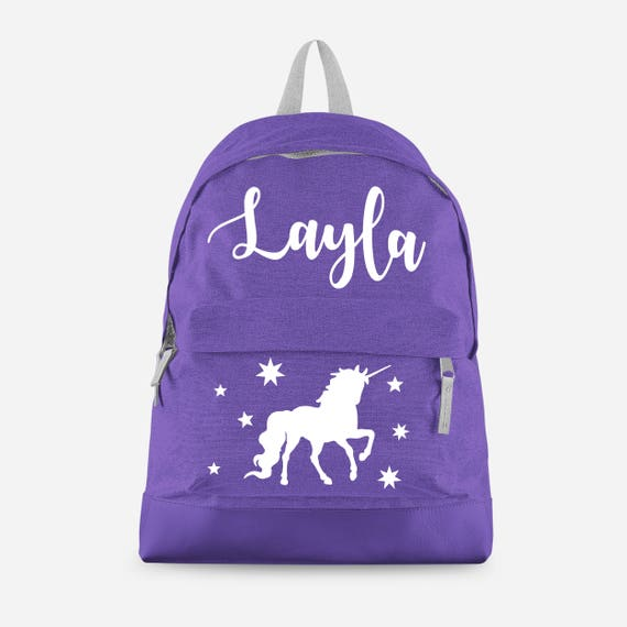 Personalised Unicorn Backpack With Any Name Kids Children Etsy