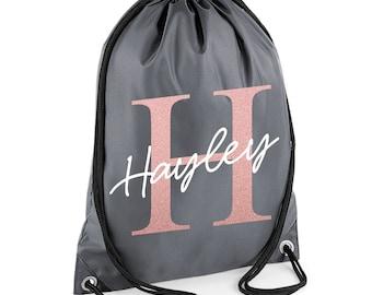 Personalised Name Initial Drawstring Bag Rose Gold Girls PE Bag Swimming School Bag Sports Bag Lunch Bag Gymsac - GB6