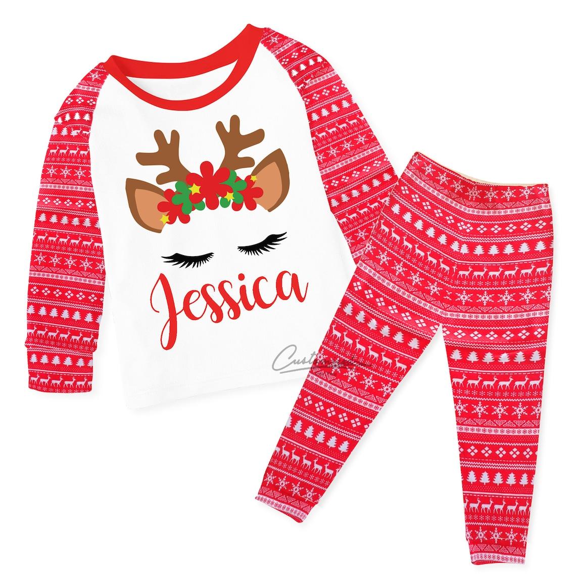 Personalised Reindeer Unicorn Christmas Pyjamas image 0