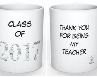 EmsiLou TEACHER/LEAVER Typography MUG (personalised)