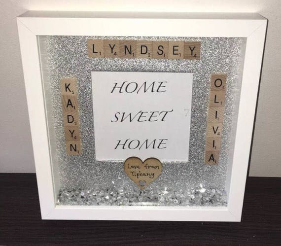 Personalised Home Sweet Home Scrabble Glitter Sparkle Frame | Etsy