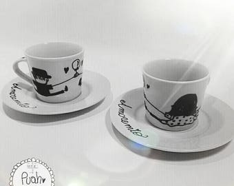 Personalized coffee cups with saucer/personalized coffee cup/character/cartoon/caricature/illustration