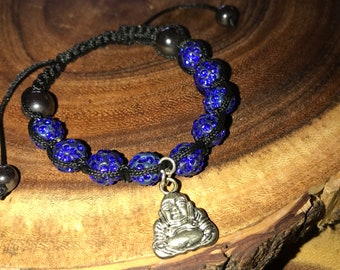 Shamballa Blue Crystal Silver Plated Buddha Bracelet