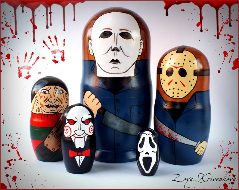 c9b15adfcc9a Nesting doll Horror Movie Villains Geek Gift Matryoshka