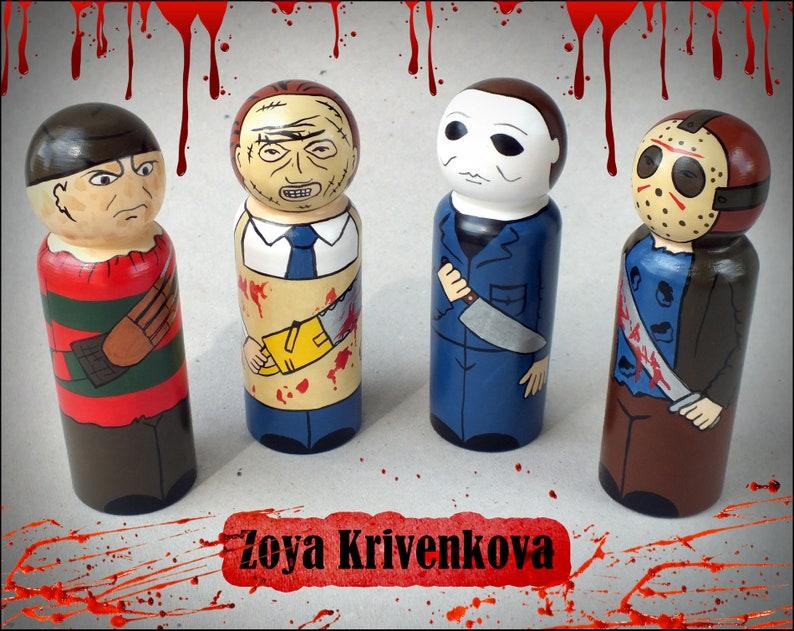 955e4f21125d Peg dolls Halloween Horror Movie Villains Freddy Krueger Jason