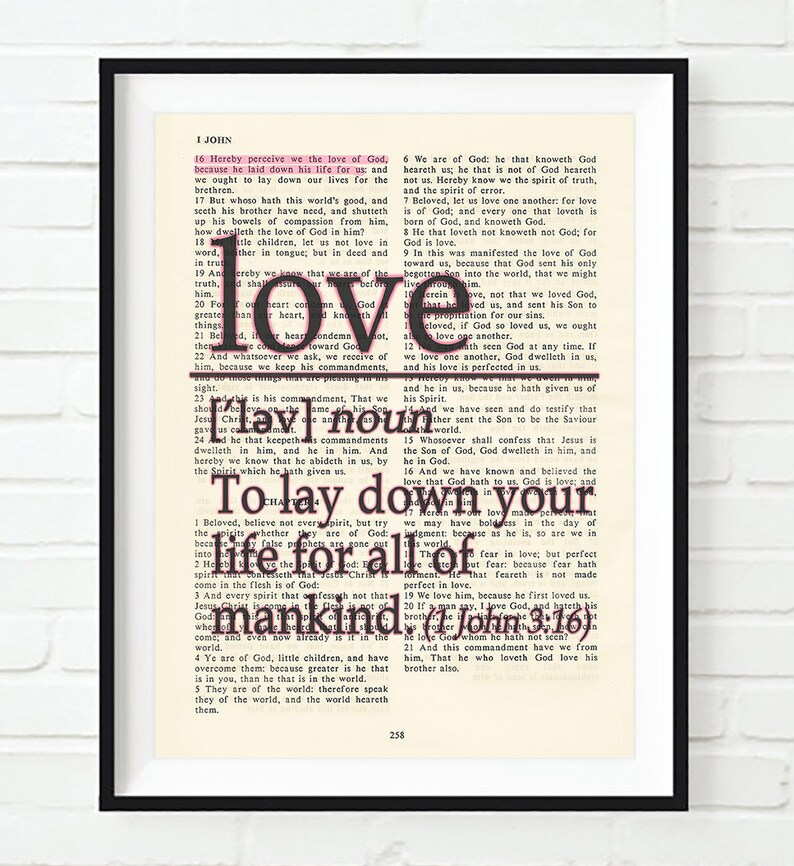 Vintage Bible page verse scripture - Love definition - to lay down your  life - 1 John 3:16 ART PRINT or CANVAS, christian gift, All Sizes