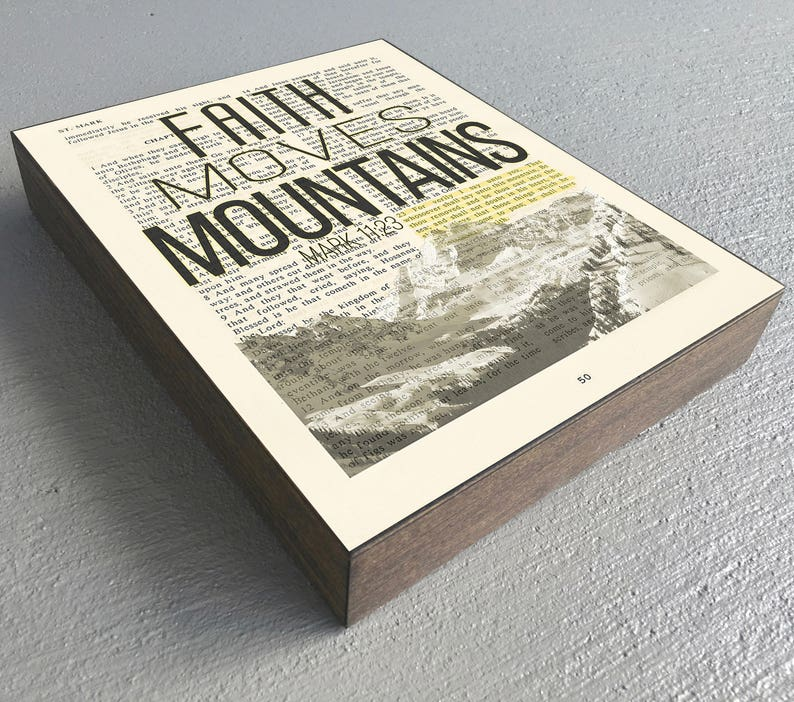 Vintage Bible verse page - Faith Moves Mountains- Mark 11:23 ART PRINT on  Wooden Block, mountain landscape dictionary christian gift