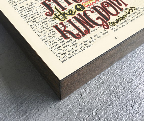 Vintage Bible verse page - Seek first the Kingdom of God- Matthew 6:33 ART  PRINT on Wooden Block, crown dictionary christian gift