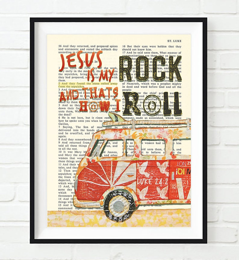Jesus is My Rock - Luke 24:2 - Vintage Bible page verse scripture- ART  PRINT or CANVAS Volkswagen Vw christian gift, All Sizes