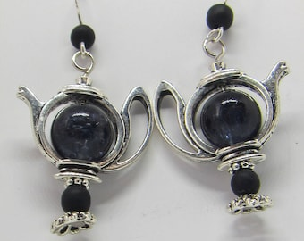 Black glass teapot, onyx earrings, handmade jewelry, limited edition, recycled bead, silver earring, coffee hot drink, gift wife mother mom