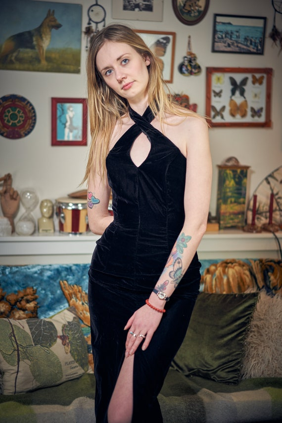 Black Velvet Evening Gown