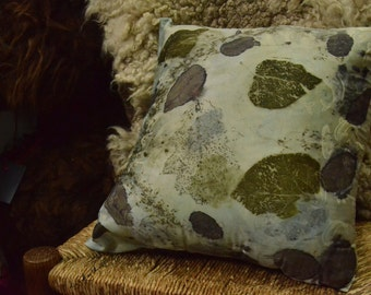 Eco dyed and imprinted Silk Cushion 15inches x 15 inches