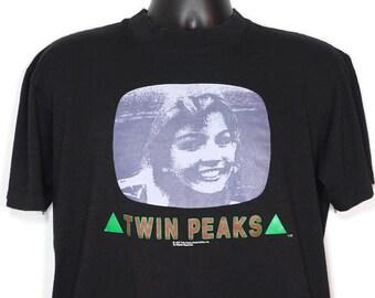 ae9d2134 1990 RARE Twin Peaks Promotional - Laura Palmer - David Lynch Cult TV Show  - Fire Walk With Me - MEDIUM Vintage T-Shirt
