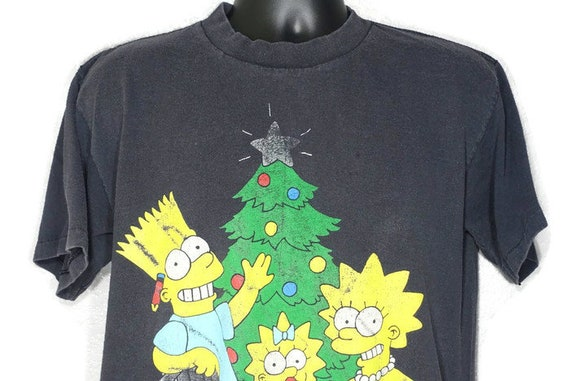 1990 RARE The Simpsons Christmas Tree - Bart Lisa Maggie Christmas Presents - Matt Groening Vintage Cult Cartoon TV Show Promotional T-Shirt