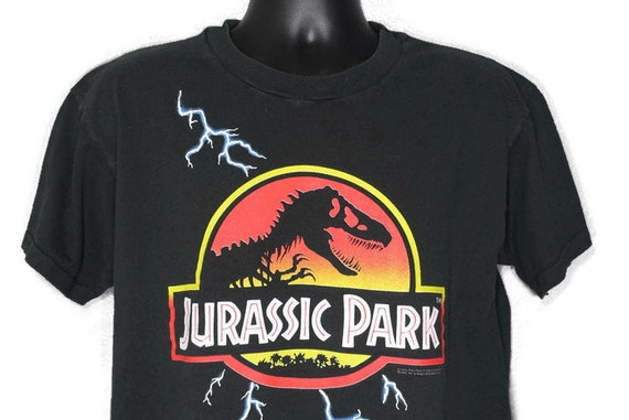 1992 Jurassic Park - Promotional Lightning Logo Movie - Vintage T-Shirt
