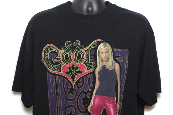 2001 Buffy the Vampire Slayer Vintage T Shirt - Good vs Evil Spike 2 Sided 90s FOX TV Show Vintage Tee on a XL M&O Knits Heavy Weight Tag