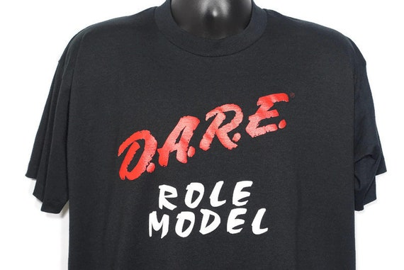 90s D.A.R.E. Vintage T Shirt - Role Model To Resist Drugs And Violence DARE Drug Abuse Resistance Education Program Vintage T-Shirt