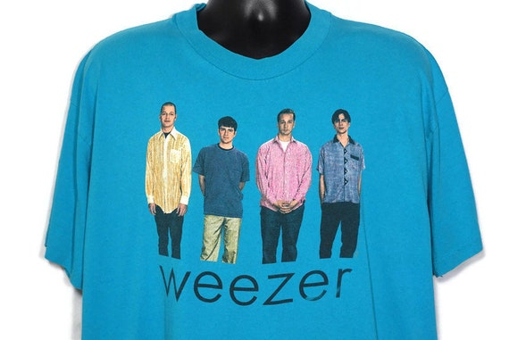 1994 Weezer Vintage T Shirt The Blue Album Buddy Holly My Name is Jonas Era 2-Sided Original 90s Concert Band T-Shirt