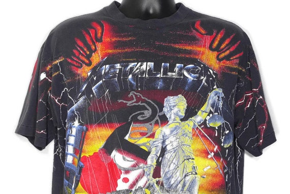 1991 RARE Metallica - Justice For All - Kill Em All - Master of Puppets - Ride the Lightning Double-Sided Metal Vintage Concert T-Shirt