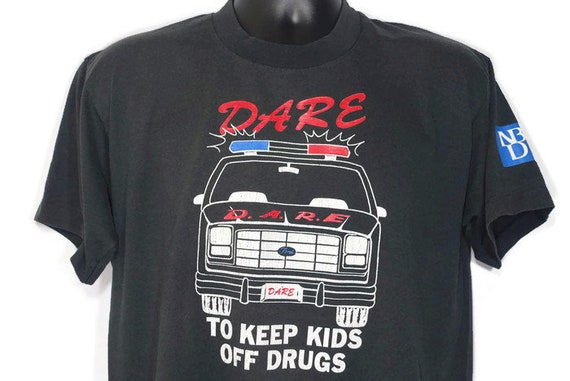 90's D.A.R.E. To Keep Kids Off Drugs DARE Ford Broncho Lake Zurich Illinois Drug Abuse Resistance Program Double Sided Vintage T-Shirt