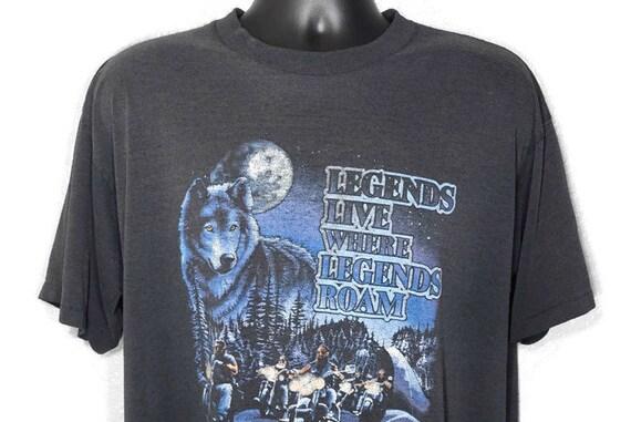 1992 Harley Davidson - Sturgis '92 - Legends Live Where Legends Roam Wolf 52nd Annual Black Hills Motorcycle Classic Promo Vintage T-Shirt