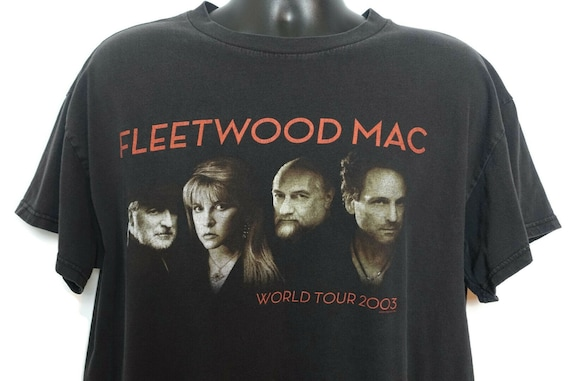 2000s Fleetwood Mac Vintage T Shirt - Stevie Nicks Lindsay Buckingham What's The World Coming Too? 00s Concert Band Tee Tennessee River Tag