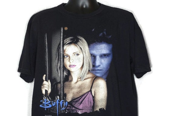 1998 Buffy the Vampire Slayer - Buffy Angel Angst - Double Sided TV Show Vintage T-Shirt