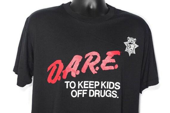 90's D.A.R.E. To Keep Kids Off Drugs DARE Badge Drug Abuse Resistance Education Program Vintage T-Shirt