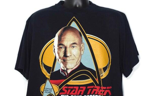 1991 Captain Jean - Luc Picard - Star Trek The Next Generation Cult Space Movie TV Show Promo Vintage T-Shirt