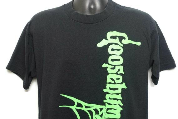 90s Goosebumps Single Stitch Vintage T Shirt - Boo Dude! Spiderweb Logo - RL Stine Book Cult Horror 2 Sided Orignal 90s T-Shirt