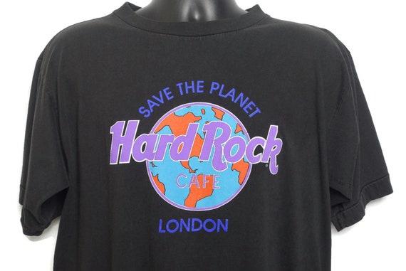 90s Hard Rock Cafe London Vintage T Shirt - Save The Planet Earth Tee Restaurant Bar Promo Vintage T-Shirt