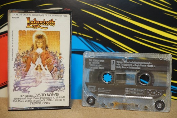 Labyrinth (Original Motion Picture Soundtrack) by David Bowie, Score by Trevor Jones Vintage Cassette Tape