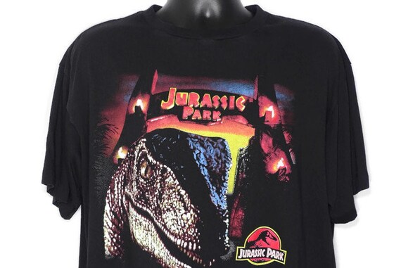 1993 Jurassic Park - Have A Nice Day - Raptor JP Logo Promotional Movie - Vintage T-Shirt