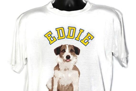 90s Frasier Eddie Dog Vintage T Shirt - Stanley Desantis Design - Seattle Radio Broadcast Original 90s Cult TV Show Promo T-Shirt